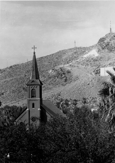 All Saints Catholic Newman Center and 'A' Mountain, ca. 1965