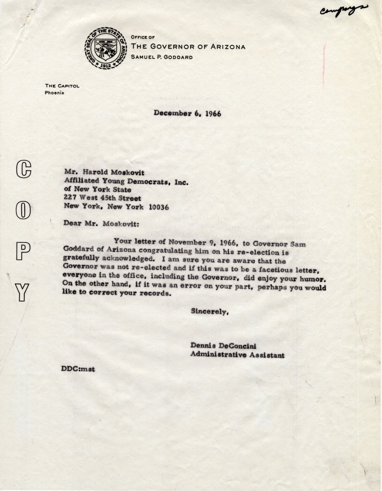 ASU Library Reply to congratulations letter on Sam Goddards – Congratulations Letter